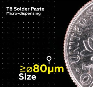 Solder paste microdispensing sample